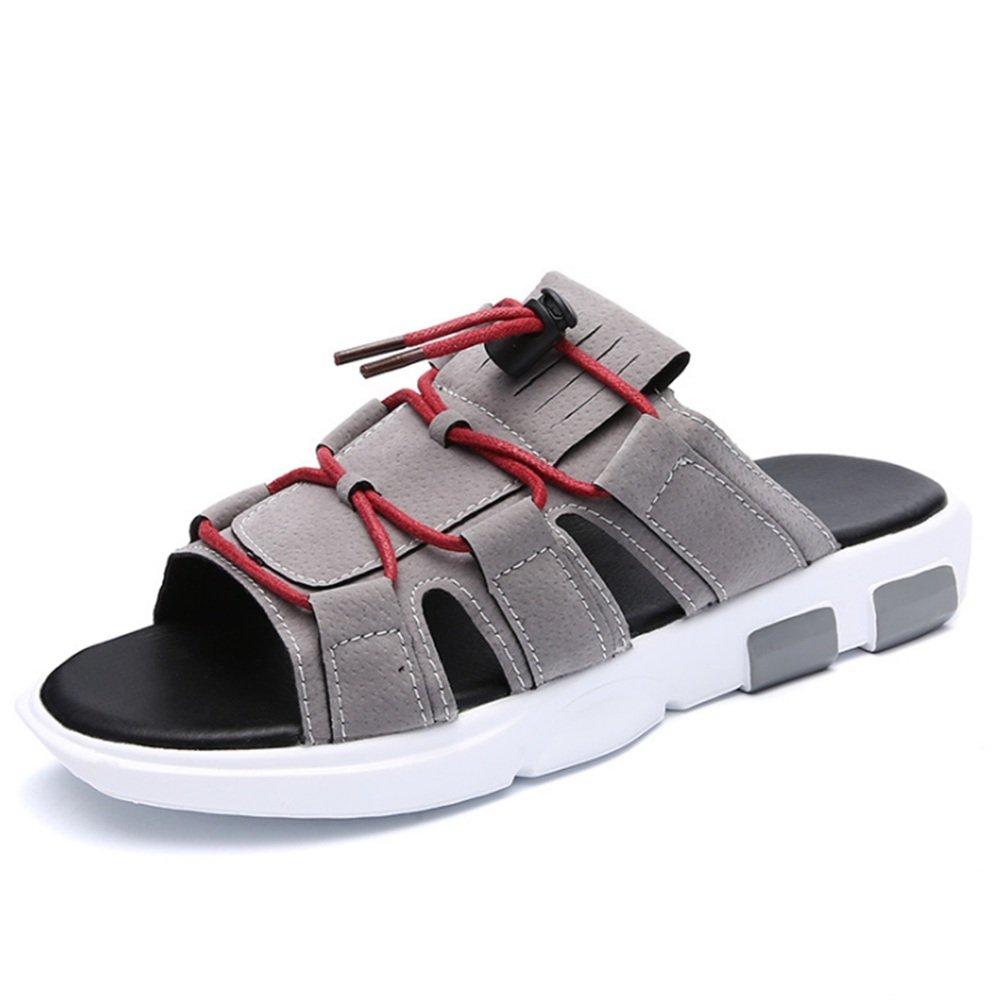 Zapatillas Zapatillas para Hombres Zapatos De Cuero Ocasionales Al Aire Libre Zapatillas Antideslizantes Y Transpirables Zapatos de Playa 40 EU|Gris