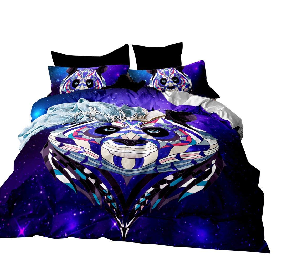 3D Purple Galaxy Bedding Set Full Size Panda Printed Teen Duvet Cover Animal Cat Decor Bedding Soft Duvet Cover Bohemia Exotic Style Bedspread Cover for Adult Kid Boy Cute Cat Decor Bed Cover