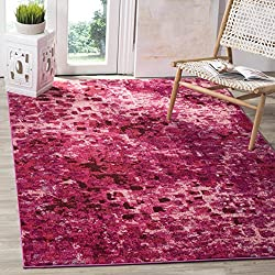 Safavieh Monaco Collection MNC225F Modern Abstract Watercolor Fuchsia Pink Area Rug (3' x 5')