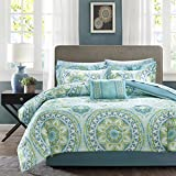 Madison Park Essentials Serenity Twin Size Bed Comforter Set Bed in A Bag - Aqua, Medallion – 7 Pieces Bedding Sets – Ultra Soft Microfiber Bedroom Comforters
