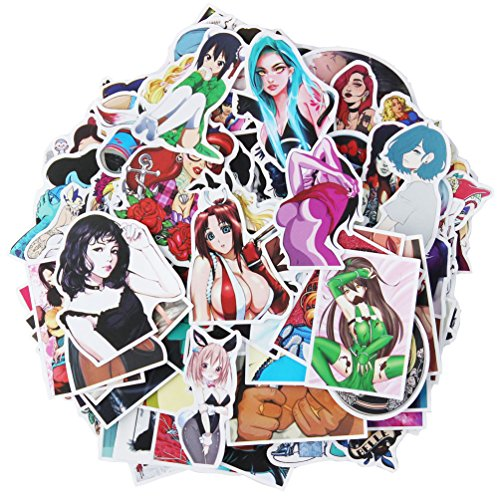 Sexy Anime Girl Laptop Stickers Car Skateboard Motorcycle Bicycle Luggage Guitar Bike Decal 100pcs Pack