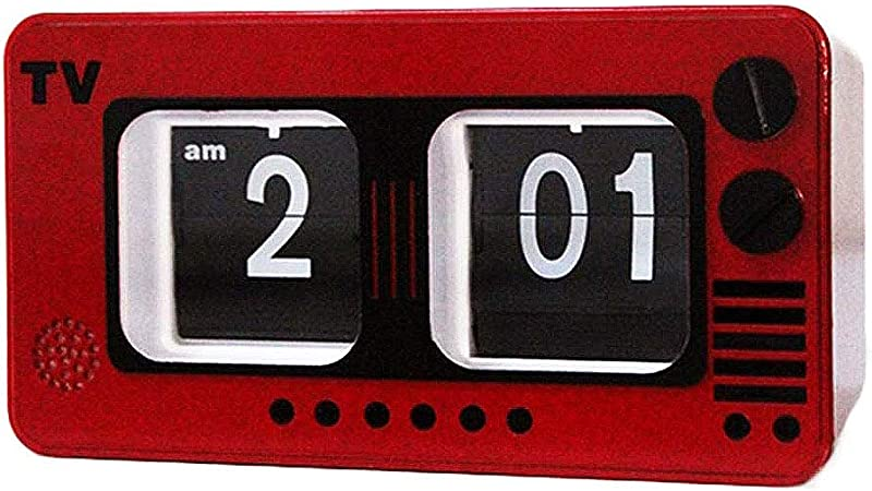 TV Digital Retro Flip Clock -televisión Auto tirón del Reloj Operación de Engranajes internos para el hogar decoración de la Pared Escritorio y Estante Relojes, Rojo: Amazon.es: Hogar