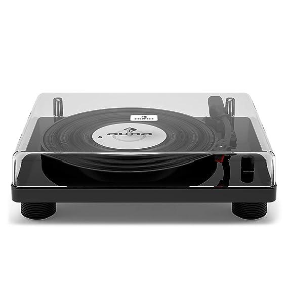 auna TT-Classic WD - Reproductor de vinilos, Tocadiscos con función digitalización a MP3, accionamiento por Correa, Puerto USB, 3 velocidades, 33, 45 ...