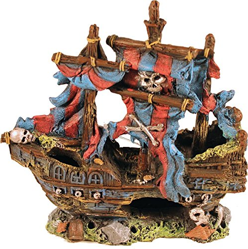 POPPY PET YM-0803A Sunken Pirate Ship with Sails, 9 by 4 by 9 , Red bluee