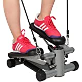 Costway Exercise Step Machine Aerobic Fitness Stepper Ropes Workout W/ Cord Arms Leg