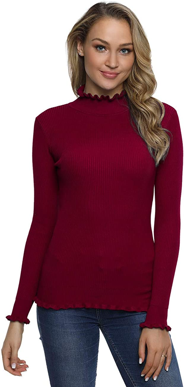 Lynz Pure Women's Mock Neck Sweater Slim Fit Ruffle Trim Ribbed Knit Pullover Tops