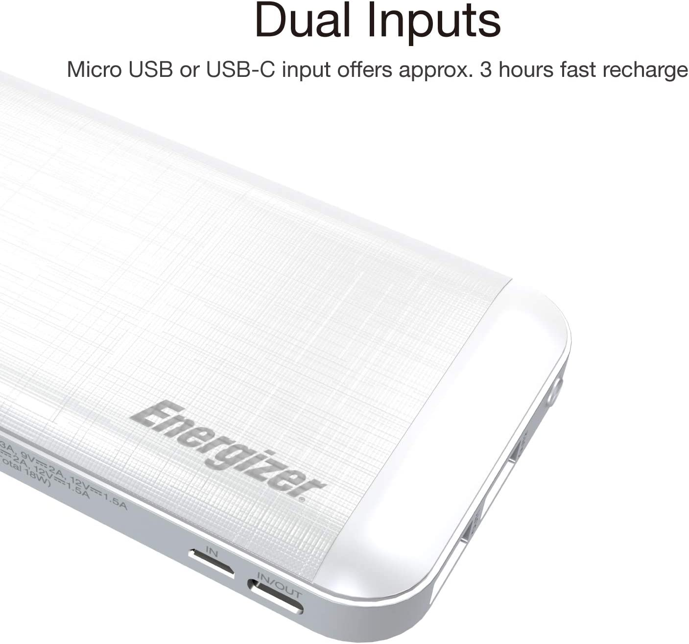 Energizer Ultimate 10000 Series, Ultra Reliable, Fast Charging, High Capacity 10000mAh Lithium Polymer, 18W Power Bank wPower Delivery 3.0 & QC 3.0