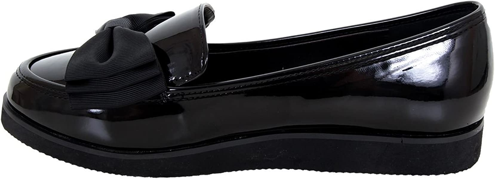 137eab15072 Fantasia Boutique ® Ladies Loafers Chunky Sole Creeper School Dolly Work  Bow Accent Patent Shoes
