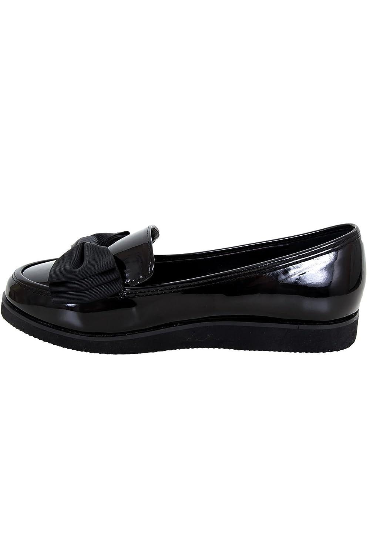 FANTASIA BOUTIQUE Mocasines Para Mujer Suela Gruesa Creeper Escuela Mu?equita Trabajo Lazo Acento Zapatos De Charol - Negro, 5 UK / 38 EU