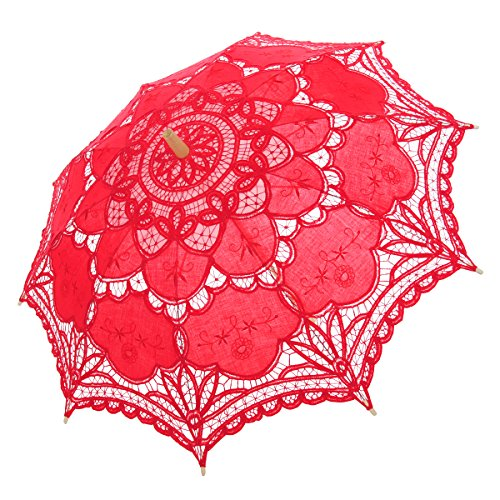 Topwedding Handmade Embroidered Cotton Wedding Umbrella Parasol Party Favors, Scarlet