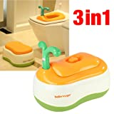 Babyyuga 3-in-1 Training Toilet Potty Tot Pot Seat Step Stool (Orange)