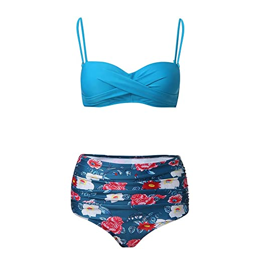 7baabe5c6ee51 Amazon.com: Women Padded Two Piece Bikini Set, Solid Pleated Push Up Bra  Tops with Floral High Waisted Beach Swimsuits: Home & Kitchen