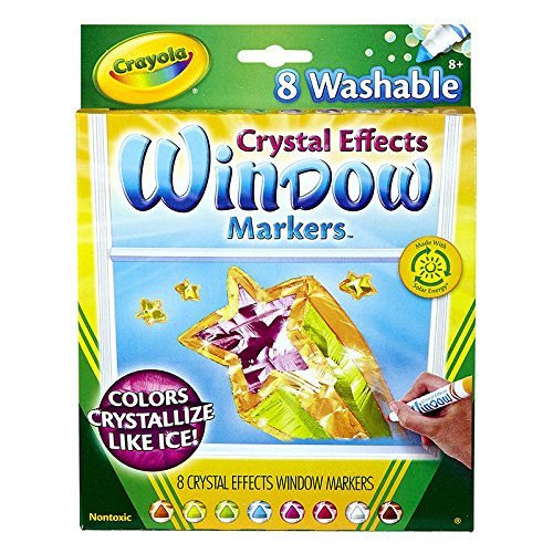 BINNEY & SMITH / CRAYOLA, Washable Window FX Markers, Conical, Astd Crystalized Colors, 8/Set