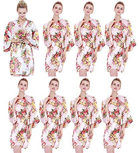 Endless Envy Women's Satin Floral Robes Bridesmaid Wedding Kimono Set 3-10 (One Size Fits 0-14, Blush (Set Of 8) by Endless Envy