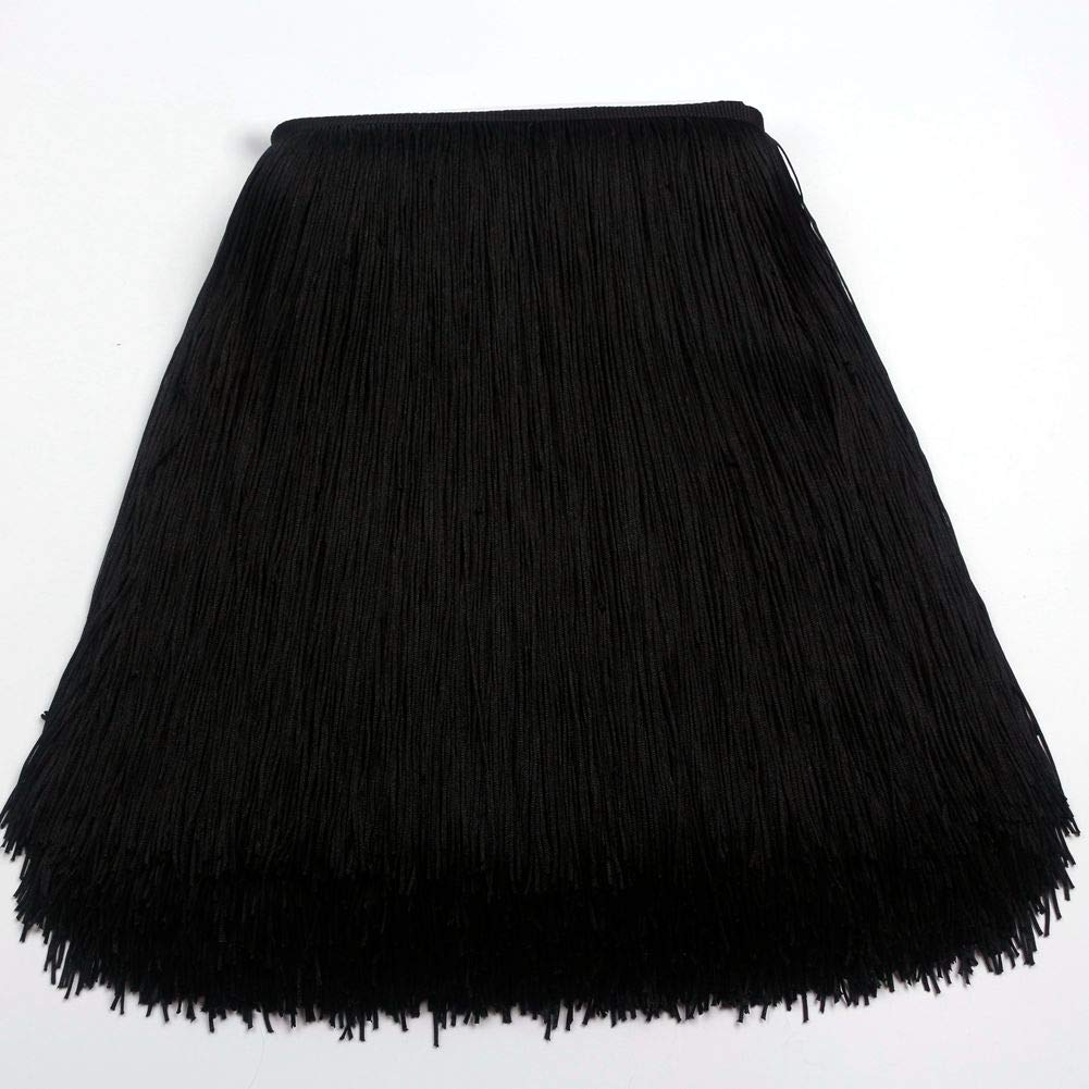 Heartwish268 Fringe Trim Lace Polyerter Fibre Tassel 12inch(″) Wide 10 Yards Long for Clothes Accessories and Latin Wedding Dress and DIY Lamp Shade Decoration Black (Black) (Black) by Heartwish268