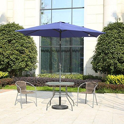MYAL Patio Outdoor 9ft Market Umbrella with Push Button Tilt and Crank Blue