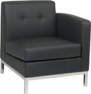 OSP Home Furnishings Avenue 6-Wall Street Right Arm Facing Chair, Black Faux Leather