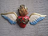 3D Painted Tin Sacred Heart with Wings and Thorns