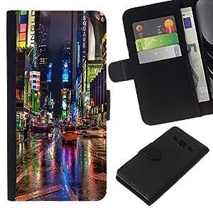 EJOY---La carpeta del tirón la caja de cuero de alta calidad de la PU Caso protector / Samsung Galaxy A3 / --Broadway Street Ciudad de Nueva York Luces de lluvia