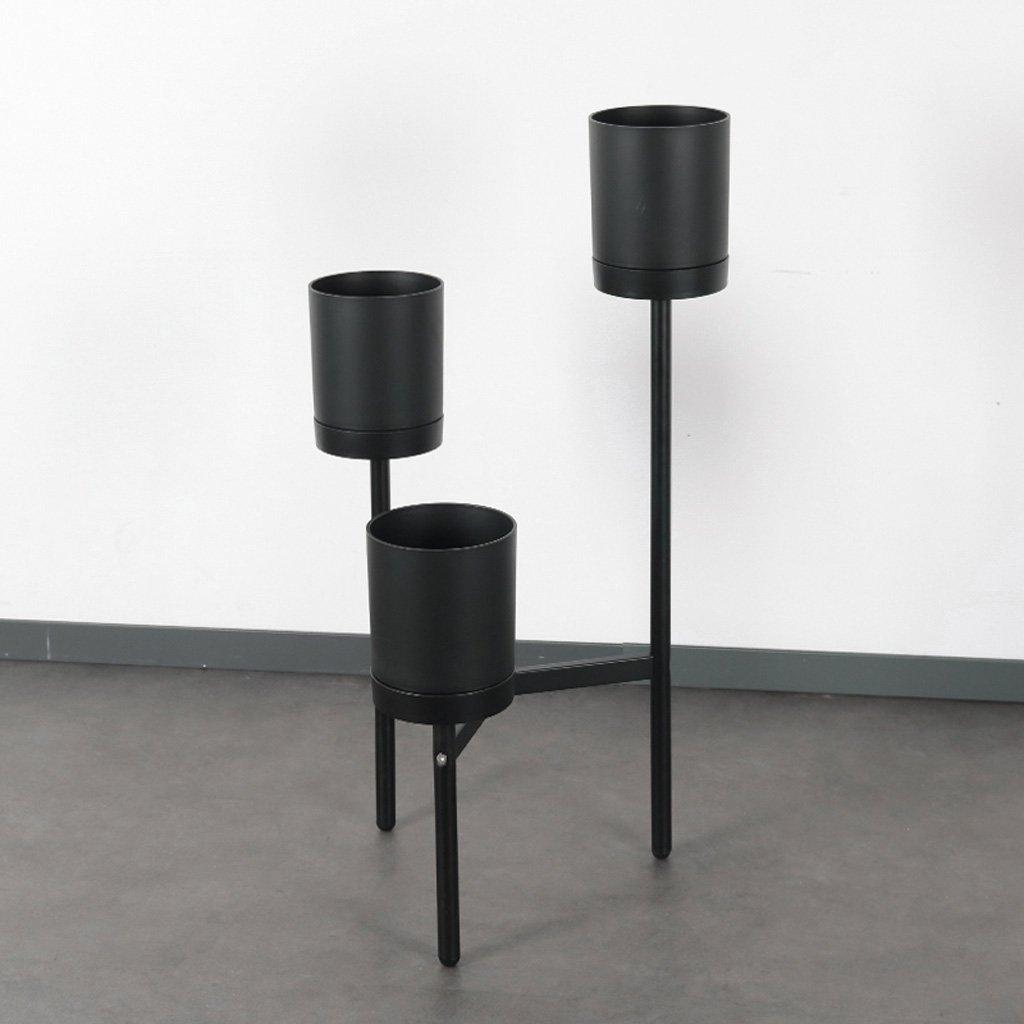現代ミニマリストオフィス家具リビングルームバルコニー三角鍛鉄床スタンド装飾ポット付きフラワーシェルフブラック (色 : Black) B07G4X74C7 Black