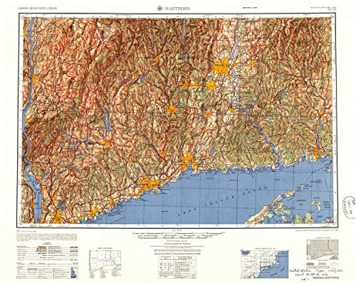 YellowMaps Hartford CT topo map, 1:250000 Scale, 1 X 2 Degree, Historical, 1947, Updated 1956, 24 x 30.2 in - Paper -