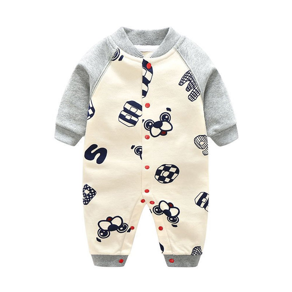 ALLAIBB Baby Boy Girl Romper Long Sleeve Dog and Number Cartoon Patterns