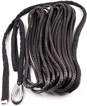 Grey 3//8*100ft Synthetic Winch Cable,ATV Winch Rope Hook,Replacement Winch Rope