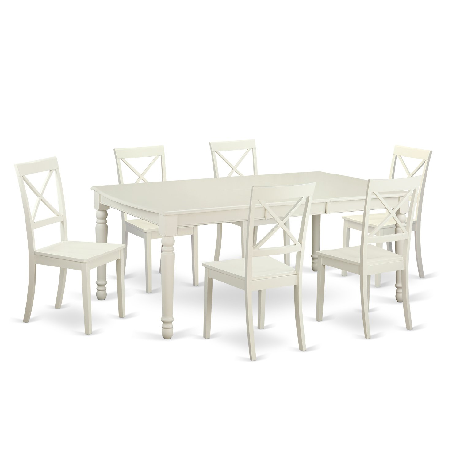 DOBO7-LWH-W 7 PC Dining room set for 6-Dinette Table and 6 Dining Chairs