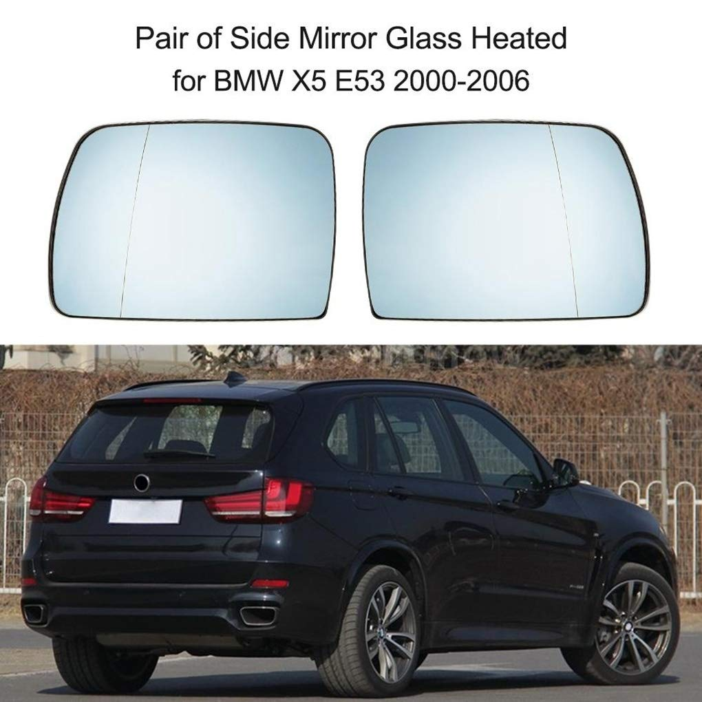 Demino 1 Pair Right and Left Side Rearview Heated Mirror Glass Replacement for BMW E53 X5 99-06 51168408797 51168408810 blue