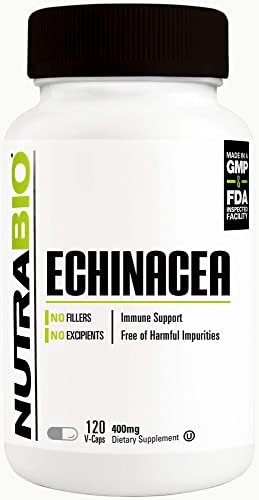 NutraBio Echinacea – Immune Support – 3rd Party Lab Tested 120 Vegetable Capsules, 400mg