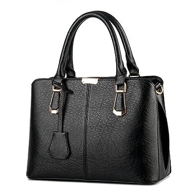 d80d4af97 Amazon.com: Pahajim women handbags PU leather top handle satchel tote purse  shoulder bags (black): Shoes