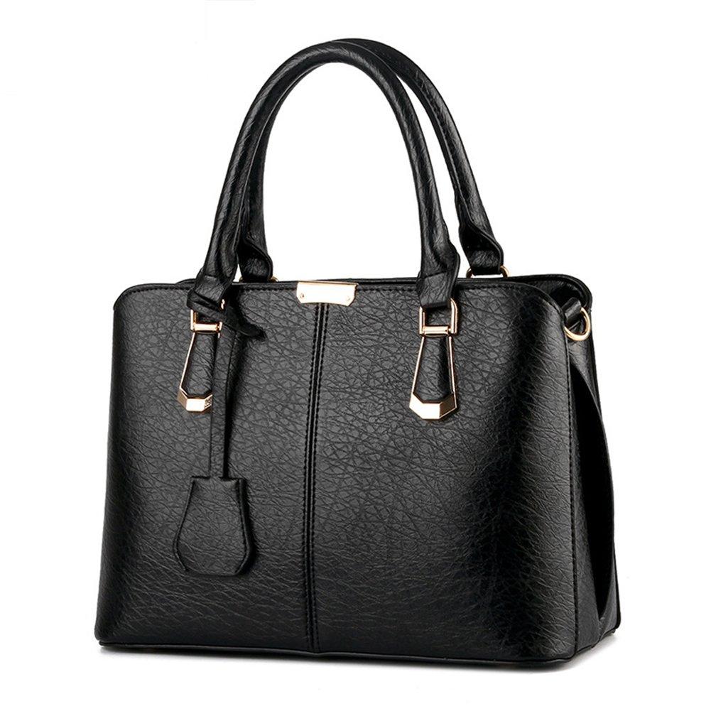 Pahajim women handbags PU leather top handle satchel tote purse shoulder bags (black)