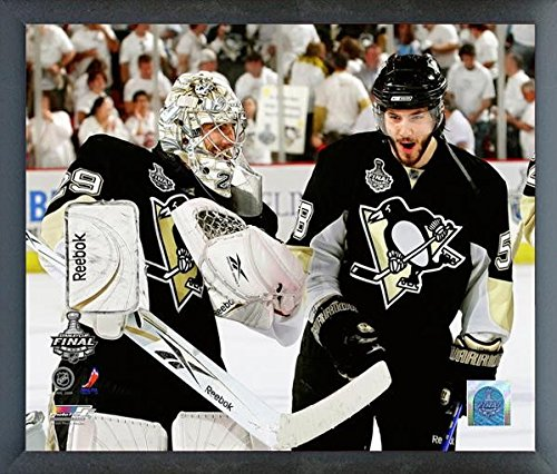 Stanley Cup 2009 Framed (Marc-Andre Fleury & Kris Letang Pittsburgh Penguins 2009 NHL Stanley Cup Finals Action Photo (Size: 12