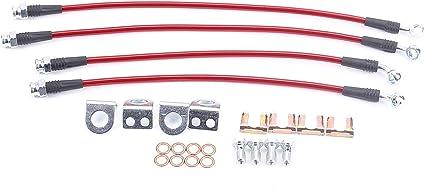 Silver Hose /& Stainless Red Banjos Pro Braking PBR2503-SIL-RED Rear Braided Brake Line