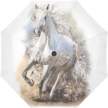 InterestPrint Custom Stormy White Horse Anti Sun UV Foldable Travel Compact Umbrella