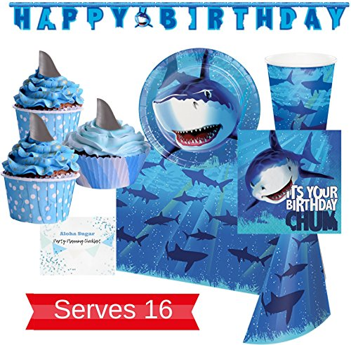 Shark Party Supplies and Decorations - Plates, Cups, Napkins for 16 People - Includes Banner, Tablecloth and Cupcake Picks - Perfect for Birthday Party, Beach Party, and Pool Parties! -