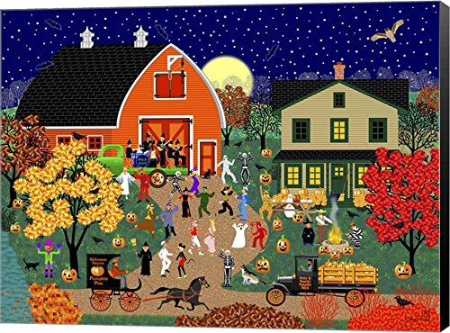 Halloween Barn Dance by Mark Frost Canvas Art Wall Picture, Museum Wrapped with Black