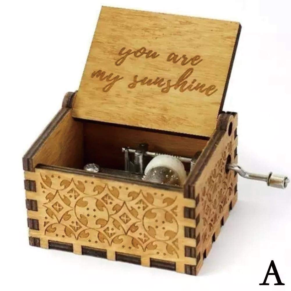 Sunshine Mother Sunshine Father Birthday Gift Holiday Decoration Music Box You Are My Sunshine JOAN DOMINGUEZ Ancient Style Carved Wooden Box