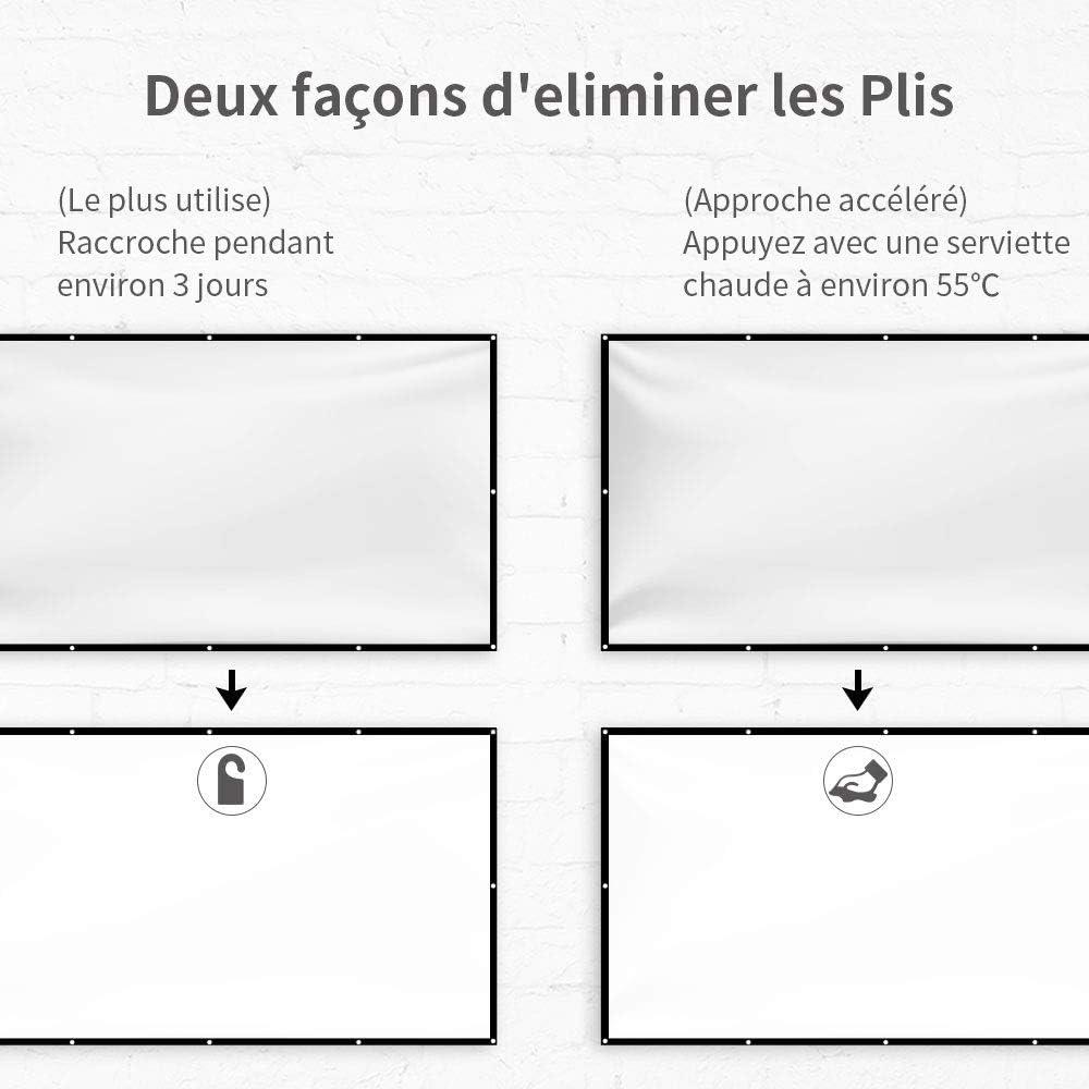 264cm*147cm 100 Pouces 4K HD 16: 9 Ecran Pliable Portable Anti-Plis Lavable /Écran de Projection pour Vid/éoprojecteur Projection pour Cin/éma//R/éunion//Maison//Plein Air