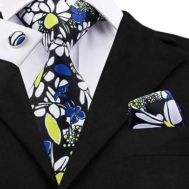 SULUO Corbata Conjuntos de corbata de seda floral Corbatas para ...