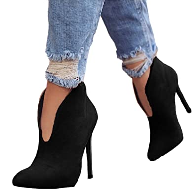 fd03aabf3a8d7a Minetom Damen Stiefeletten Mode Frühling Herbst Stiletto Shoes Booties  Stiefel Casual Schuhe Sexy Party Pumps High Heels  Amazon.de  Schuhe    Handtaschen