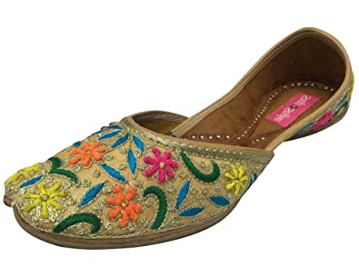 Step n Style hecho a mano JUTTI Khussa Zapatos Zapatos de Pakistán de la India Saree étnico zapatos, color, talla 36