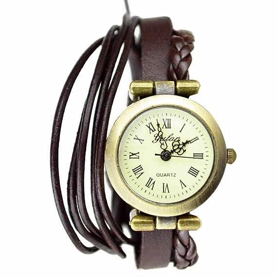 Reloj de pulsera Joya reloj mujer Algodón Dial redondo números romanos Quarzo analógico Mujer Marrón Mel