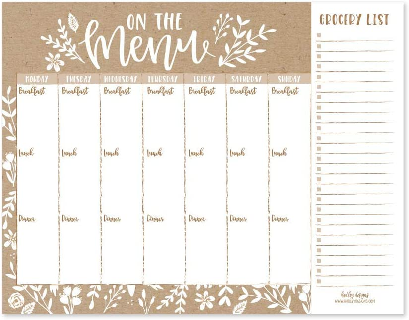 Rustic Weekly Meal Planning Calendar Grocery Shopping List Magnet Pad for Fridge, Magnetic Family Pantry Food Menu Board Organizer, Week Diet Prep Planner Tools Refrigerator What to Eat Dinner Notepad
