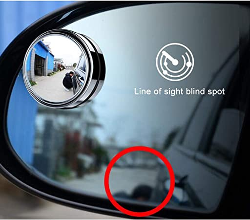 360/° Rotatable HD Waterproof Durable Crystal Glass Wide Angle Wing Mirror Suitable for all Types of Cars LCHENX-2 Pcs Convex Wide-Angle Car Blind Spot Mirror