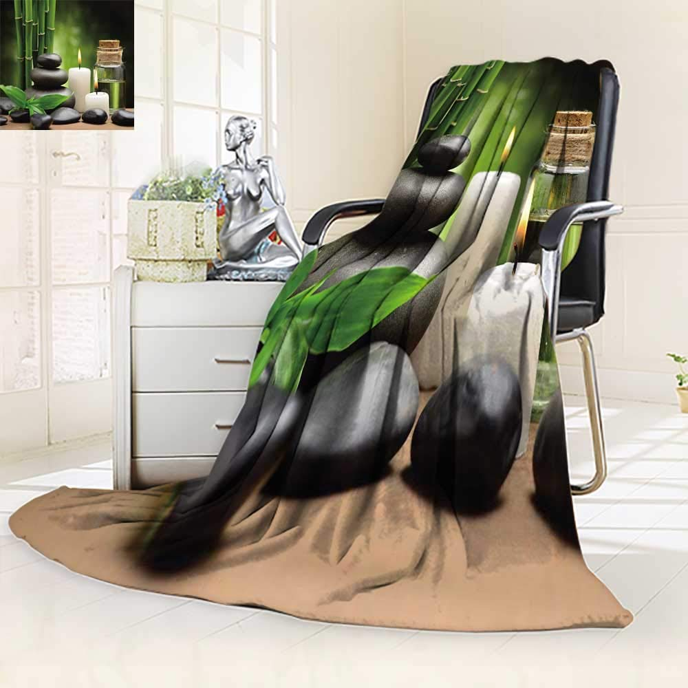 YOYI-HOME Luxury Collection Ultra Soft Plush Fleece Spa Hot Massage Rocks Combined with CandlesAnd Scents Landscape of Bamboo Green White and Black All-Season Throw/Bed Blanket/31.5'' W by 47'' H