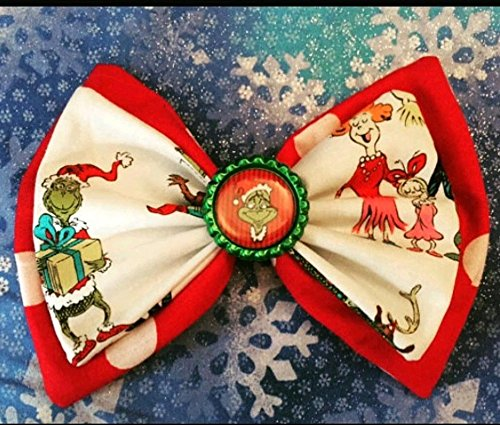 Dr, Seuss The Frinsh Who Stole Christmass double stack fabric hair bow with bottle cap center, whoville Christmas bow, holiday party stocking stuffer fabric hair bow