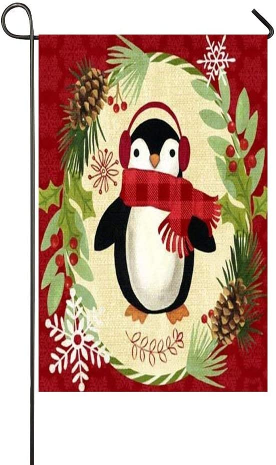 Leisue Garden Flag Outdoors Home Decor, Christmas Penguin Decoration, Welcome Yard Lawn Patio Party Flags with Colorful Personalized Patterns