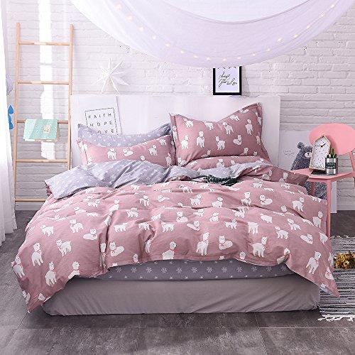 VClife Kids Cute Queen Bedding Sets Soft Cotton Alpaca Cartoon Printed Duvet Cover - Boy Girl Teens Lightweight Bedding Collection All Season 3 pcs Bed Set, Zipper Closure & Corner Ties, Full/Queen