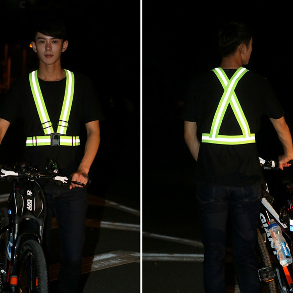 1 Pcs Unisex Outdoor Cycling Safety Vest Bike Ribbon Bicycle Light Reflecing Elastic Harness For Night Riding Running Jogging Cycling Bicycle Accessories